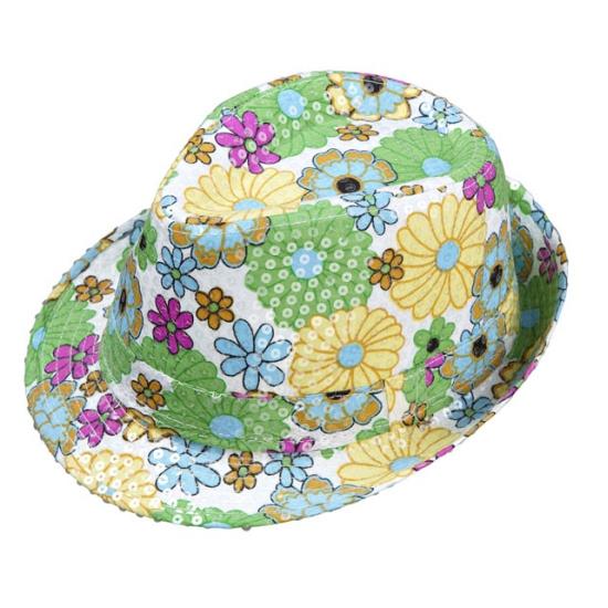 Bloemetjes hoed met pailletten