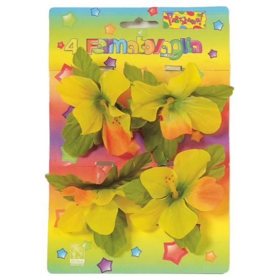 Decoratie klemmetjes met bloemen voor tafelkleed 4 stuks