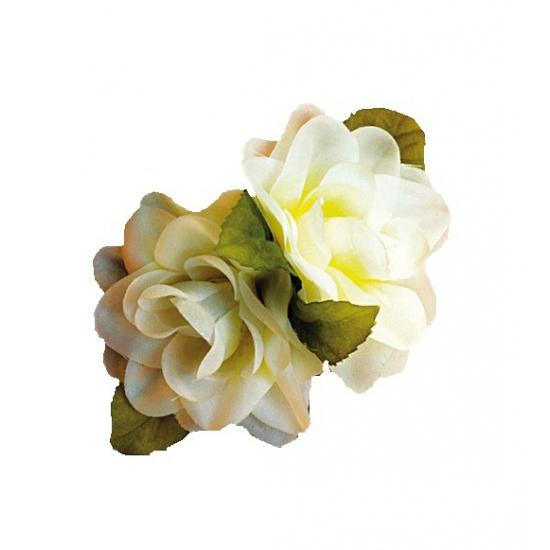 Hawaii accessoire witte roos haarklem