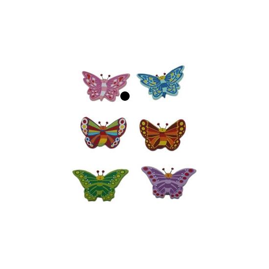 Houten decoratie vlinder roze