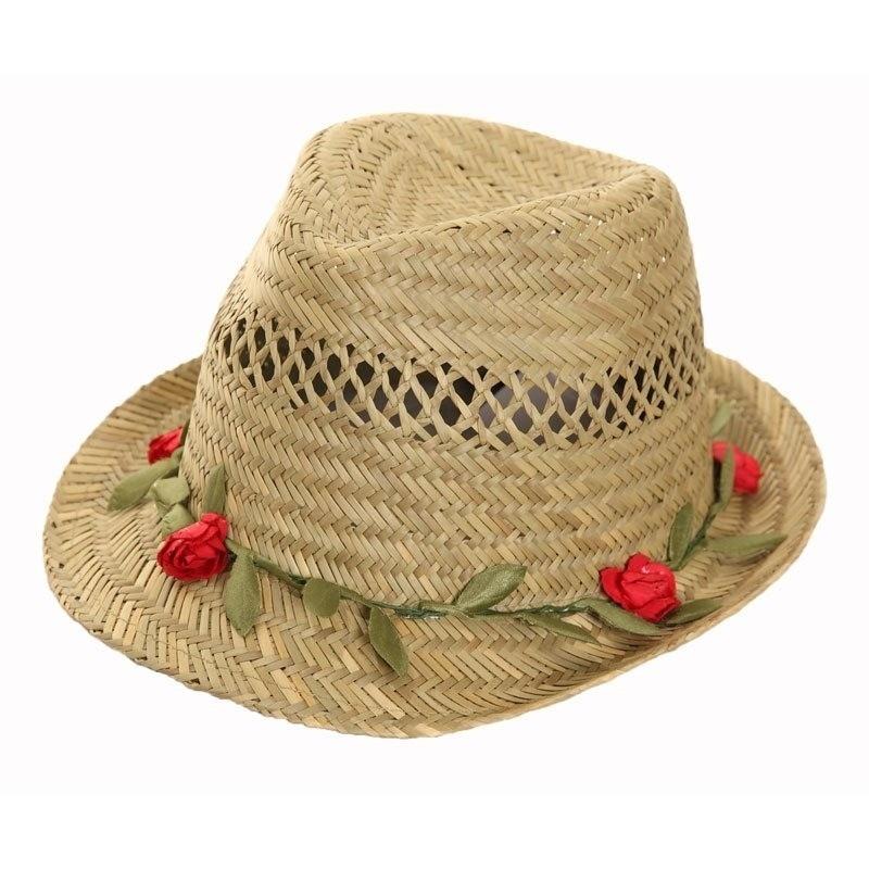 Zomerhoedje stro voor dames met rozen