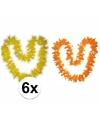 Hawaii bloemenkransen pakket oranje geel 6 stuks
