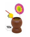 Set van 10x hawaii tropische party kokosnoot drinkbekers