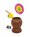 Set van 4 hawaii tropische party kokosnoot drinkbekers